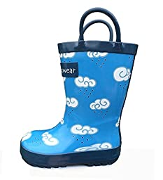 Oakiwear Kids\'/ Boys\' Rubber Rain Boots with Easy-On Handles - Clouds (7 Toddler)