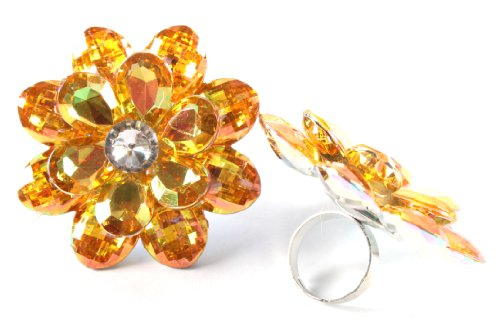 Ladies Yellow Double Flower Metal Adjustable Finger Ring with Multicolor Shine
