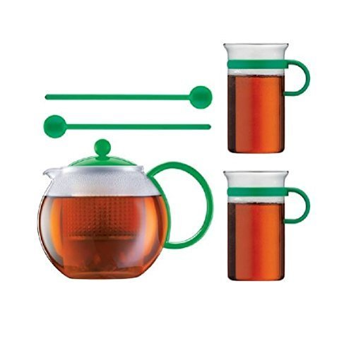 Bodum Limited Edition 70th Anniversary Assum Tea Press Set - Glass Teapot Press (34 Oz), Glass Mugs & Spoons (Green) By Bodum