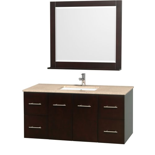 Centra 48 Inch Single Bathroom Vanity In Espresso With White Ivory Top With Square Porcelain Undermount Sink front-645307