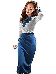 Women Self Tie Bow Neck Knit Top w Elastic Waist Pencil Skirt