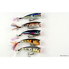 "Lot of Five 2.4"" Topwater Sigi Chugger/Popper Fishing Lures for Bass & Trout with Matching Tail"