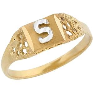 K Letter In Diamond Ring ... Diamond Cut Design Letter S Initial Band Ring: Amazon.co.uk: Jewellery