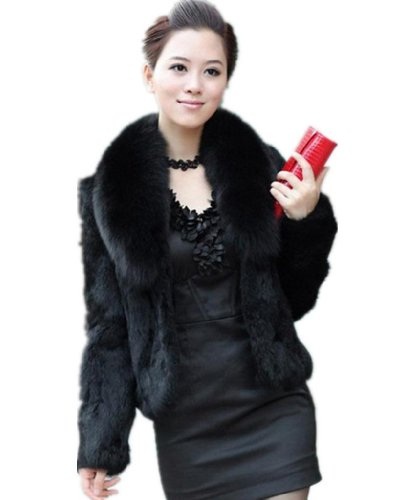 Womens Temperament Winter Warm Faux Mink Fur Fox Fur Collar Long ...