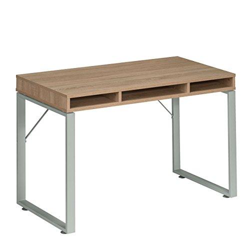 MAJA-Schreibtisch-Computertisch-Metall-Platingrau-Sonoma-Eiche-120x78x60cm-neues-Modell-aus-2016