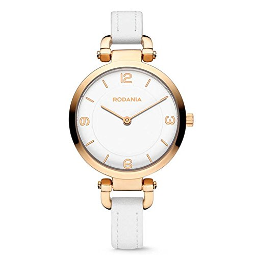 RODANIA Amazone 26090-33 31mm Gold Plated Stainless Steel Case White Calfskin Mineral Women's Watch