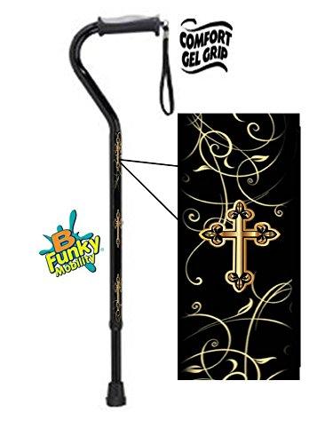 Walking Cane- Gel Grip-Gold Cross