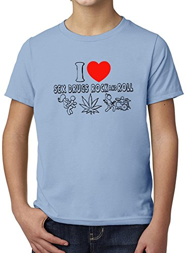 I Love Sex Drugs And Rock'N'Roll Ultimate Youth Fashion T-Shirt by True Fans Apparel - 100% Organic, Hypoallergenic Cotton- Casual Wear- Unisex Design - Soft Material 5-6 years