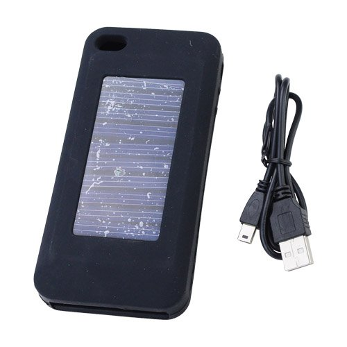 Brand new 1900mAh Rechargeable Silicone Solar Energy External Power Battery Back Case for iPhone 3G/3GS/4G-Black (Low Rate Shipping In USA)