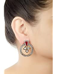 E-designs Rhodium / Gold Plated Earring With CZ Stone Alongwith Colour Stones Studded For Women - B00LM9TUTA