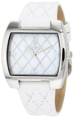 Croton Women's CN207168WSMP White Quilted White Mother-Of-Pearl Dial Watch
