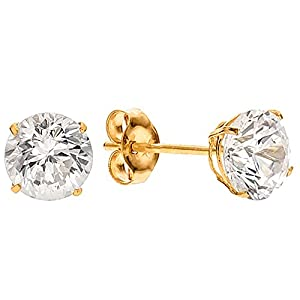 10mm 14k Yellow Gold Basket Set Round Cubic Zirconia Stud Earrings