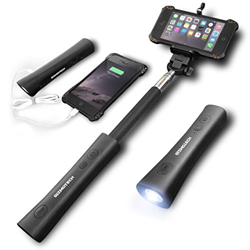 Gizmotech Selfie Stick, 3-in-1 Bluetooth Selfie Stick Extendable Monopod with Built-in Remote Shutter, Power Bank, Torch for iPhone 6, 6S, 6 Plus, 5
