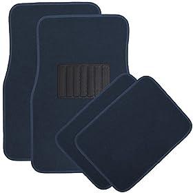 OxGord Universal Fit 4-Piece Front/Back Seat Heavy Duty Rubber Floor Mat Set - (Blue)