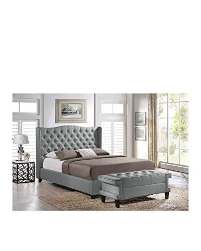 Baxton Studio Norwich King Size Linen Modern Platform Bed With Bench, Grey