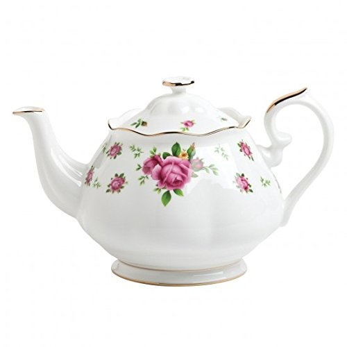 Royal Albert New Country Roses Formal Vintage Teapot, White/Pink (Country Teapot compare prices)