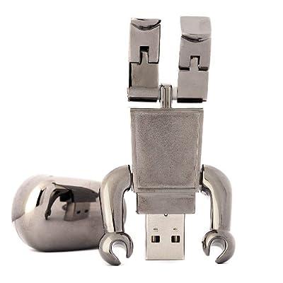 8GB Jumbo Gun Metal Robot USB Memory Stick - Flash Drive/School/Novelty/Gift by Memory Mates