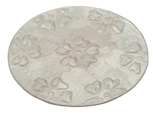 KOUBOO Round Capiz Coasters with Flower Relief, Off White, Set of 4