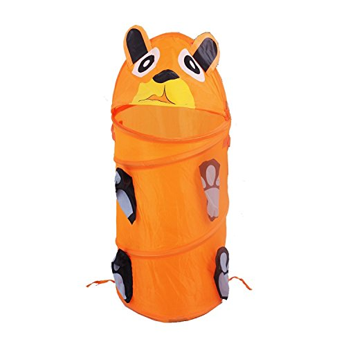 Consider It Maid Laundry Toy Bin Storage Collapsible Basket Kids Pop Up Hamper - Large - Orange Bear - The Animal Collection