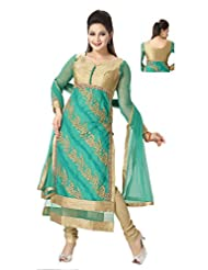 Ritu Creation Women's New Net Party Wear Straight Long Chudidar Suit With Front&Back Zari Work - B01580EYG2