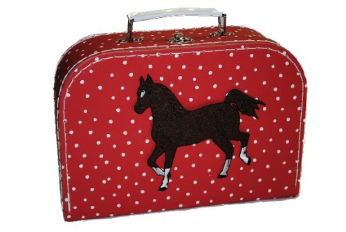 Kinderkoffer Groß rot weiße Punkte Pferd Pferde