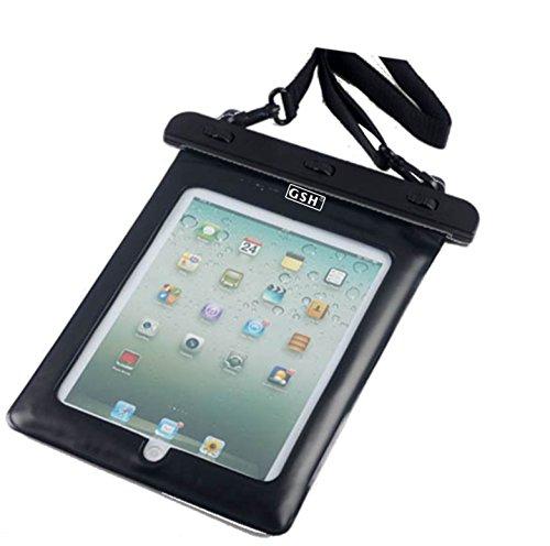 7-10 インチ タブレット用防水ケース 首掛けストラップ付き ipad 2/3/4 Air1/2/ipad mini/ ARROWS Tab/dtab/ASUS/Xperia tablet/Galaxy note10.1 ブラック