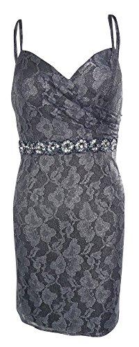 Onyx Nite Women's Beaded Waist Metallic Lace Dress (12