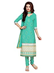 Craftliva New Designer Embroidered Sky Straight Suits