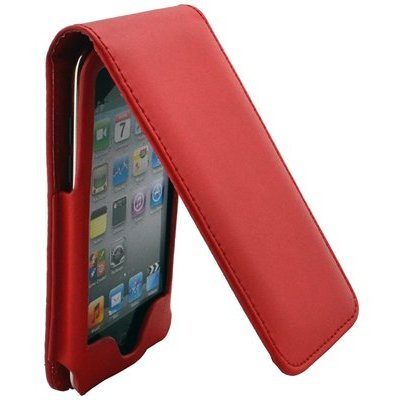 Cell Xcessories Red Leather Folio Flip-Up Folding Case Cover for Apple iPod Touch 4th Gen Generation 4G 8GB 32GB 64GB