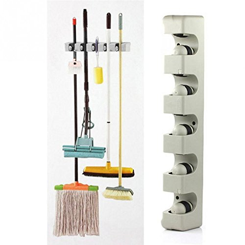 GreenSun(TM) Kitchen Wall Mounted Hanger 5 Position Kitchen Storage Mop Broom Holder Tool Plastic Wall Mounted (Bat Hook Shelf Bracket compare prices)