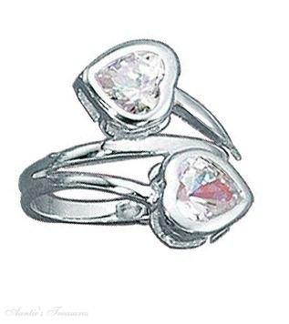 Sterling Silver Cubic Zirconia Heart Ring Wrap Size 9
