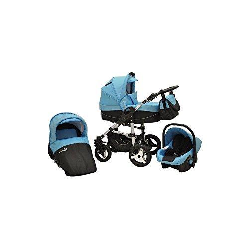 Kombikinderwagen-Olimp-3-in-1-Kombi-Kinderwagen-Autositz-Babyschale-Buggy-trkis-schwarz