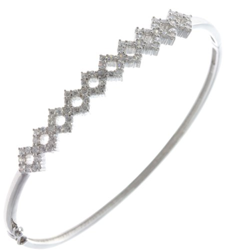 Classical 925 Sterling Silver Ladies Bangle with Cubic Zirconia/CZ - 6cm*8mm, 10 Grams