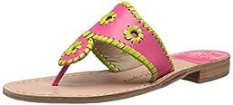Jack Rogers Women\'s Lexi Dress Sandal, Bright Pink/Lime, 8 M US