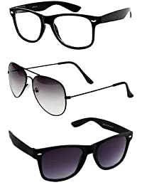 Combo Set Of 3 UV Protect Aviator And Wayfarer Sunglasses For Men/Women (TransparentWayfarer-HalfBlack-BlackMattWayfarer)