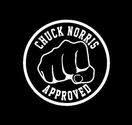NI238 Chuck Norris Approved Fist Funny lol | Premium Quality White VINYL Decal | 5.75