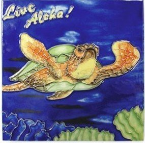 Hawaiian Ceramic Tile Live Aloha Turtle 8 x 8 in.