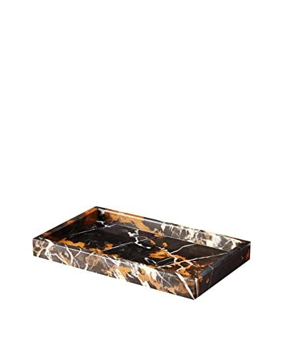 Marble Crafter Myrtus Collection Marble Small Amenity Tray, Black/Gold Marble