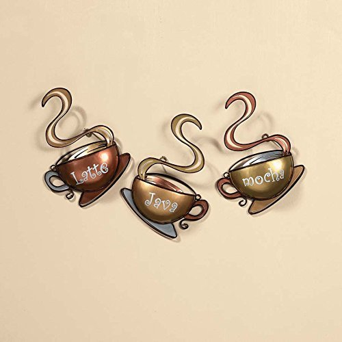 Coffee House Cup Mug Latte Java Mocha Metal Wall Art Home Decor (1, DESIGN 1) (Coffee Cups Kitchen Decor compare prices)