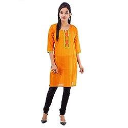 Kaash Women 's Straight Kurta_VRMTE03_L_Yellow
