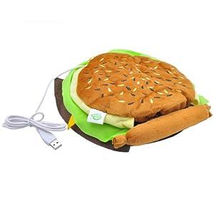 USB Heated Hand Warmer / Mouse Pad, Brown, Hamburger Design