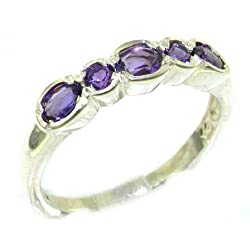 Luxury Solid English Sterling Silver Ladies Natural Amethyst Contemporary Style Eternity Band Ring - Size 9.75 - Finger Sizes 5 to 12 Available