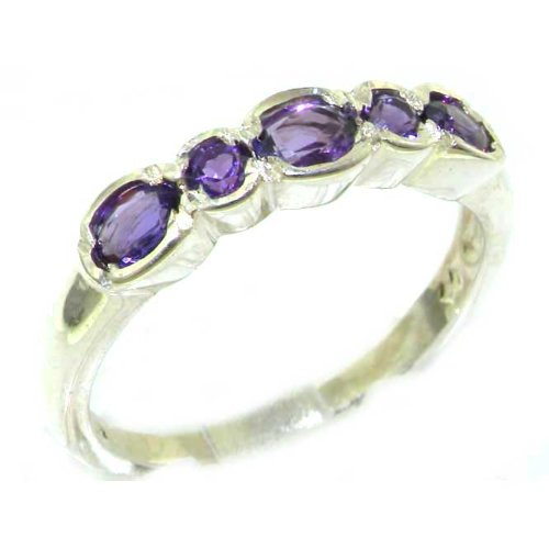 Luxury Solid English Sterling Silver Ladies Natural Amethyst Contemporary Style Eternity Band Ring - Size 12 - Finger Sizes 5 to 12 Available - Suitable as an Anniversary ring, Engagement ring, Eternity ring, or Promise ring