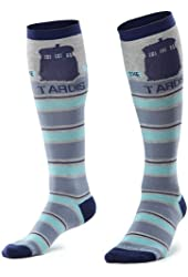 Doctor Who Knee Tardis Stripe Knee High Socks, Shoe size 4-10