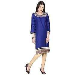 Janasya women's Blue Embroidered kurtis
