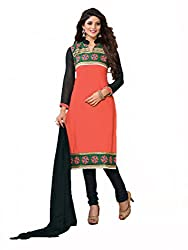 Inaaya Collections Coton dress with Embroidery Peach colored dress material