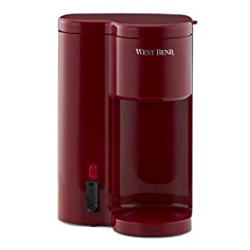 West Bend 56204 Single-Cup Personal Coffee Maker and Water Dispenser, Red