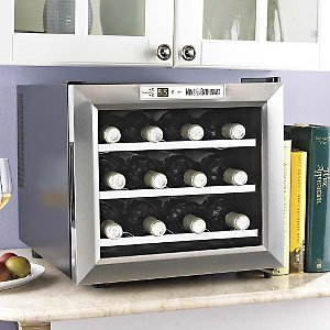 Wine Enthusiast Silent 12 Bottle Wine Refrigerator -Stainless Steel Trim Door