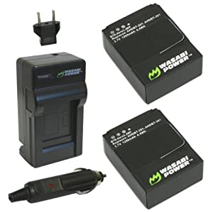 Wasabi Power Battery (2-Pack) and Charger for GoPro HD HERO3 and GoPro AHDBT-201, AHDBT-301