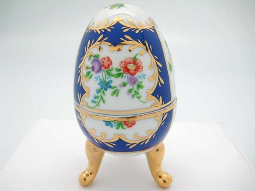 Victorian Antique Royal Blue Egg Porcelain Trinket Box